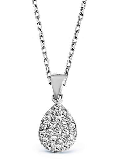 Argentum Concept Zirkon Taşlı Gümüş Damla Kolye - N134001 Gümüş